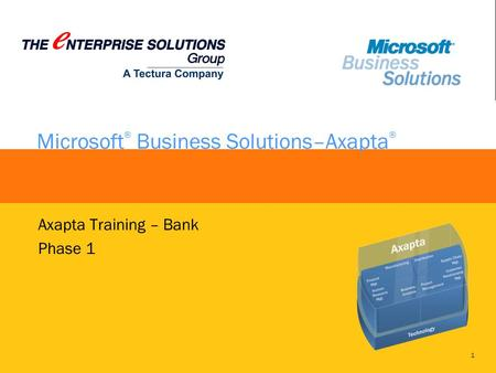 1 Microsoft ® Business Solutions–Axapta ® Axapta Training – Bank Phase 1.