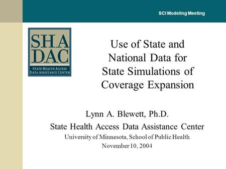 Lynn A. Blewett, Ph.D. State Health Access Data Assistance Center University of Minnesota, School of Public Health November 10, 2004 Use of State and National.