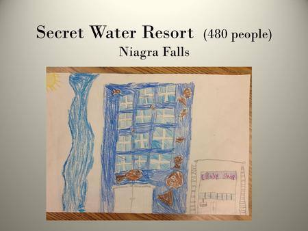 Secret Water Resort (480 people) Niagra Falls. One Bedroom (30 in hotel) 1 bed, 1 sofa bed, Kitchen, 1 bath.