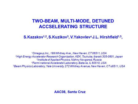 TWO-BEAM, MULTI-MODE, DETUNED ACCSELERATING STRUCTURE S.Kazakov 1,2, S.Kuzikov 3, V.Yakovlev 4 J.L. Hirshfield 1,5, 1 Omega-p,Inc., 199 Whitney Ave., New.