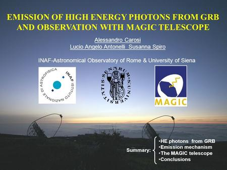 EMISSION OF HIGH ENERGY PHOTONS FROM GRB