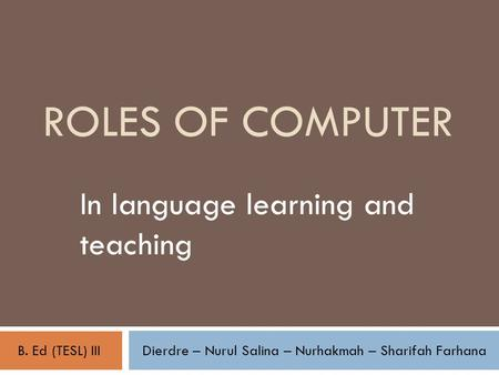 In language learning and teaching