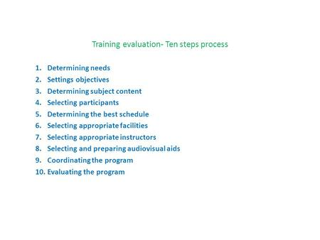 Training evaluation- Ten steps process 1.Determining needs 2.Settings objectives 3.Determining subject content 4.Selecting participants 5.Determining the.