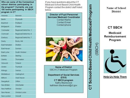 Name of School District CT SBCH Medicaid Reimbursement Program If you have questions about the CT Medicaid School Based Child Health Program contact the.