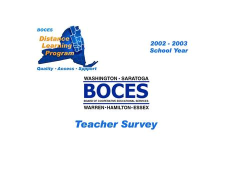SAN Distance Learning Project Teacher Survey 2002 – 2003 School Year... BOCES Distance Learning Program Quality Access Support.