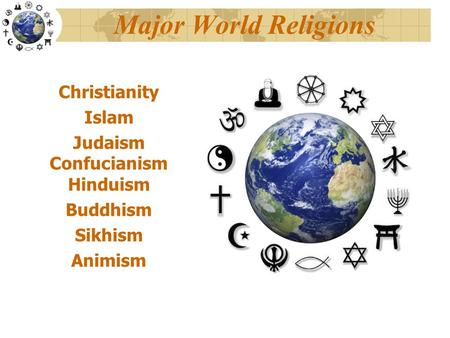 Major World Religions Christianity Islam Judaism Confucianism Hinduism Buddhism Sikhism Animism.