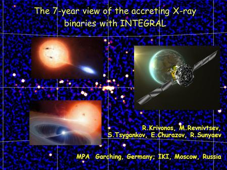 The 7-year view of the accreting X-ray binaries with INTEGRAL R.Krivonos, M.Revnivtsev, S.Tsygankov, E.Churazov, R.Sunyaev MPA Garching, Germany; IKI,