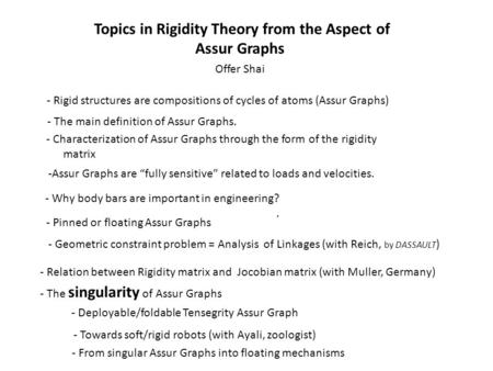 Topics in Rigidity Theory from the Aspect of Assur Graphs Offer Shai - Rigid structures are compositions of cycles of atoms (Assur Graphs) - The main.