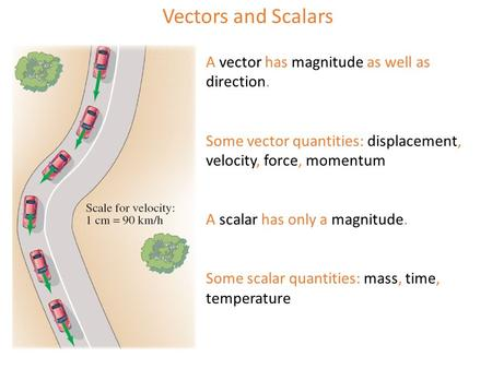 Vectors and Scalars A vector has magnitude as well as direction. Some vector quantities: displacement, velocity, force, momentum A scalar has only a magnitude.