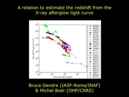 A relation to estimate the redshift from the X-ray afterglow light curve Bruce Gendre (IASF-Roma/INAF) & Michel Boër (OHP/CNRS)