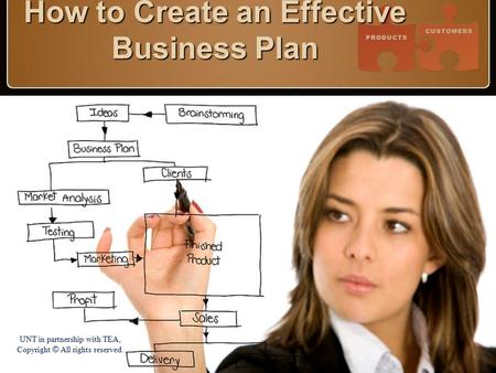 How to Create an Effective Business Plan UNT in partnership with TEA, Copyright © All rights reserved.