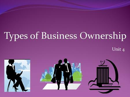 Unit 4 Types of Business Ownership. Sole Proprietorship Easiest & most popular form of business to create Business that is owned and operated by one person.