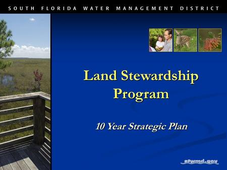 Land Stewardship Program 10 Year Strategic Plan. Manages District natural areas, protect lands and mitigation banks through: Enhancement Enhancement Restoration.