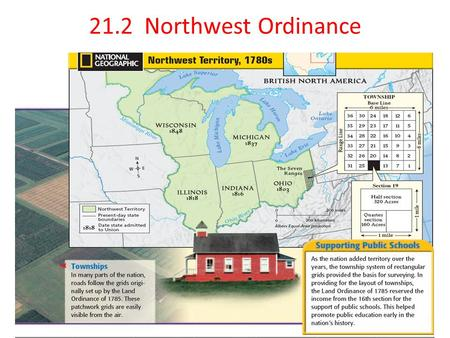 21.2 Northwest Ordinance. Standard 8.9.3 Describe the significance of the Northwest Ordinance in education and in the banning of slavery in new states.