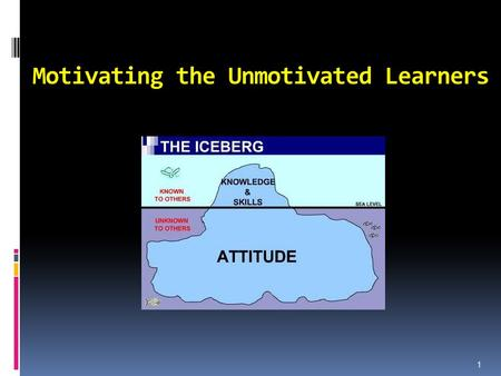 Motivating the Unmotivated Learners 1. The future student Personality competent Inter-personality competent Inter-culturally competent Communicatively.