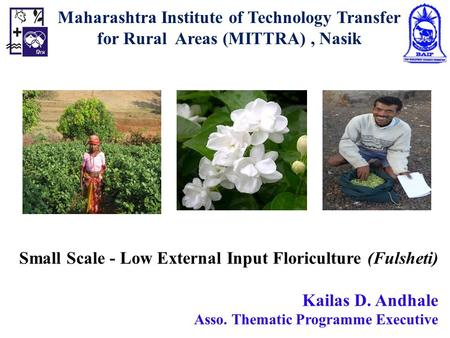 Small Scale - Low External Input Floriculture (Fulsheti) Kailas D. Andhale Asso. Thematic Programme Executive Maharashtra Institute of Technology Transfer.