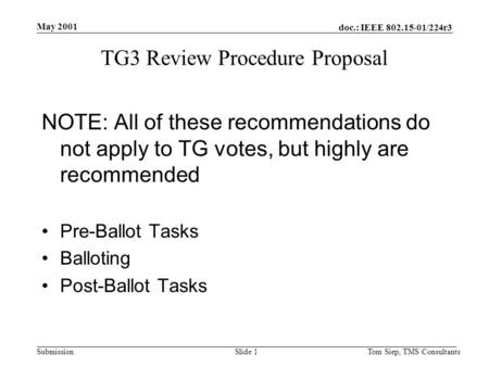 Doc.: IEEE 802.15-01/224r3 Submission May 2001 Tom Siep, TMS ConsultantsSlide 1 TG3 Review Procedure Proposal NOTE: All of these recommendations do not.