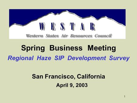 1 Spring Business Meeting Regional Haze SIP Development Survey San Francisco, California April 9, 2003.