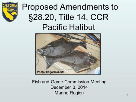 Fish and Game Commission Meeting December 3, 2014 Marine Region 1 Photo: Edgar Roberts.
