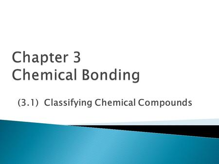 (3.1) Classifying Chemical Compounds. Atoms can combine to form compounds of two bond types: Intramolecular – within the molecule  Ionic  Covalent ◦