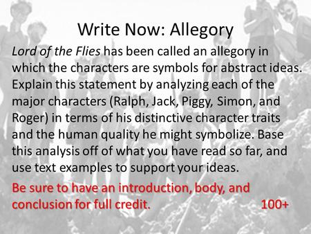 thesis statement for lord of the flies essay You are to write a character analysis essay you are to write a character analysis essay about a character in lord of the flies arguable thesis statement.