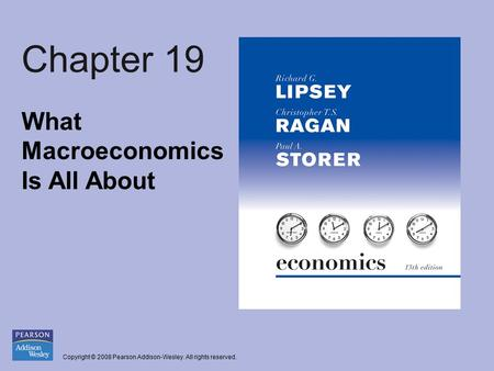 Copyright © 2008 Pearson Addison-Wesley. All rights reserved. Chapter 19 What Macroeconomics Is All About.