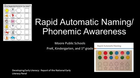 Rapid Automatic Naming/ Phonemic Awareness Moore Public Schools PreK, Kindergarten, and 1 st grade Developing Early Literacy: Report of the National Early.