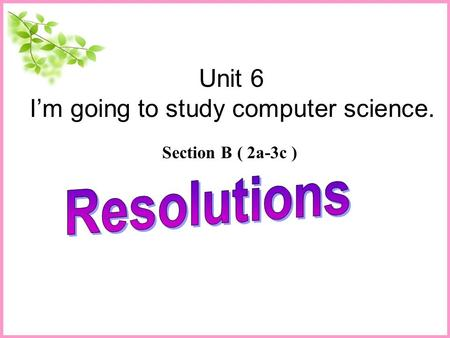 Unit 6 I'm going to study computer science. Section B ( 2a-3c )