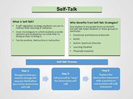 Self-Talk What is Self-Talk? A self-regulation strategy students can use to redirect their learning or behavior. Inner monologues in which students provide.