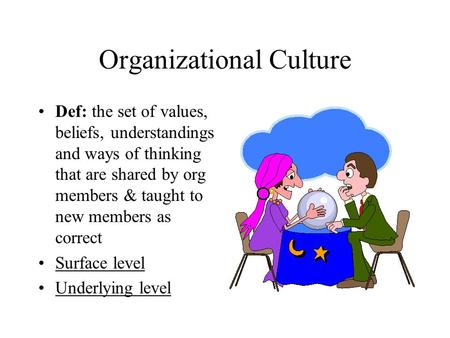 Organizational Culture Def: the set of values, beliefs, understandings and ways of thinking that are shared by org members & taught to new members as correct.