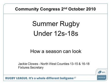 Community Congress 2 nd October 2010 Summer Rugby Under 12s-18s How a season can look Jackie Clowes - North West Counties 13-15 & 16-18 Fixtures Secretary.