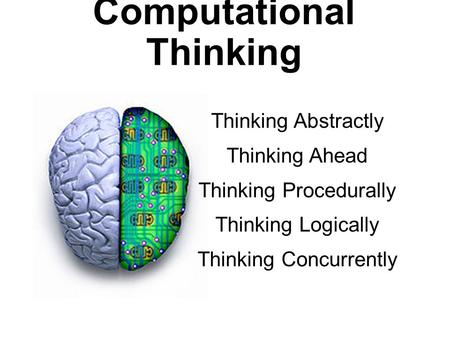 Computational Thinking Thinking Abstractly Thinking Ahead Thinking Procedurally Thinking Logically Thinking Concurrently.