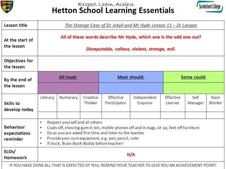 Hetton School Learning Essentials Lesson titleThe Strange Case of Dr Jekyll and Mr Hyde Lesson 11 – Dr Lanyon At the start of the lesson All of these words.