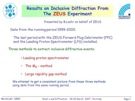 Results on Inclusive Diffraction From The ZEUS Experiment Data from the running period 1999-2000. The last period with the ZEUS Forward Plug Calorimeter.