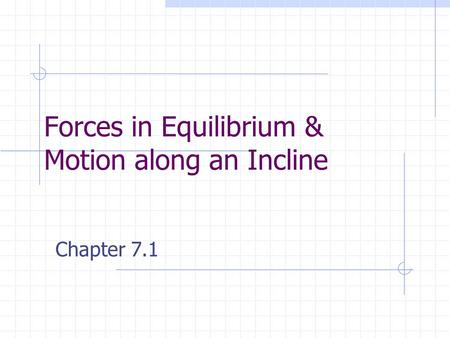 Forces in Equilibrium & Motion along an Incline Chapter 7.1.