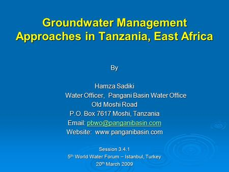 Groundwater Management Approaches in Tanzania, East Africa
