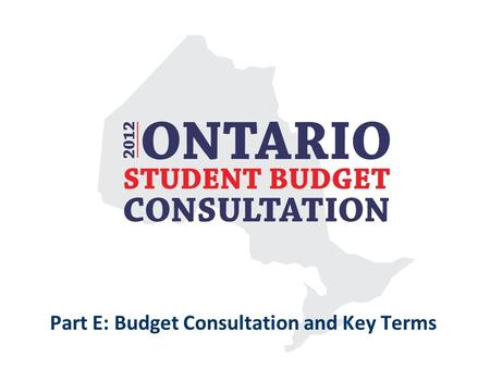 Part E: Budget Consultation and Key Terms. Budget Consultations As part of the budgeting process, the government consults with citizens, stakeholders,
