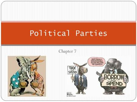"Chapter 7 Political Parties. The Meaning of Party Political Party: A ""team of men [and women] seeking to control the governing apparatus by gaining office."