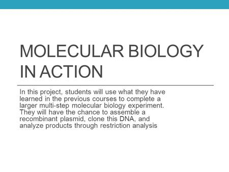 MOLECULAR BIOLOGY IN ACTION In this project, students will use what they have learned in the previous courses to complete a larger multi-step molecular.