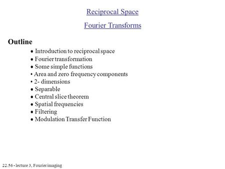  Introduction to reciprocal space