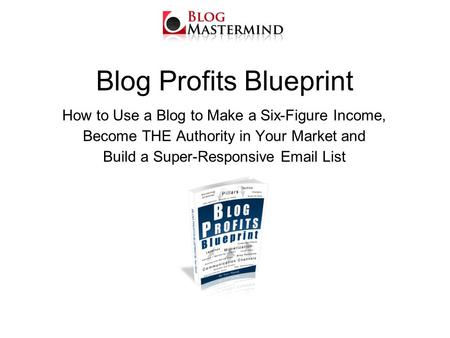 Blog Profits Blueprint How to Use a Blog to Make a Six-Figure Income, Become THE Authority in Your Market and Build a Super-Responsive Email List.