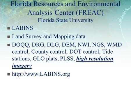 Florida Resources and Environmental Analysis Center (FREAC) Florida State University LABINS Land Survey and Mapping data DOQQ, DRG, DLG, DEM, NWI, NGS,