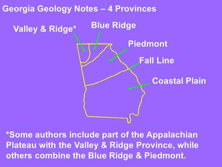 Georgia Geology Notes – 4 Provinces