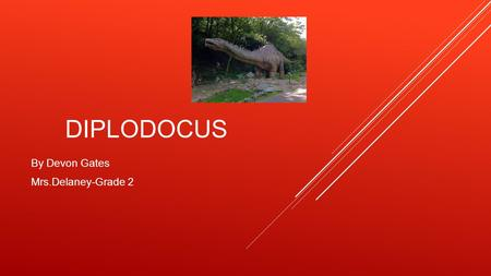 DIPLODOCUS By Devon Gates Mrs.Delaney-Grade 2 WHAT MY DIPLODOCUS LOOKS LIKE  It has a long neck  It has spikes on its back  It has a long tail  It.