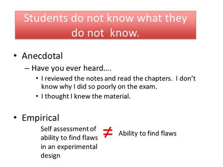 Students do not know what they do not know. Anecdotal – Have you ever heard…. I reviewed the notes and read the chapters. I don't know why I did so poorly.