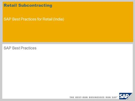 Retail Subcontracting SAP Best Practices for Retail (India)