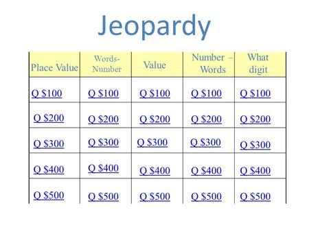 Jeopardy Place Value Words- Number Value Number – Words What digit Q $100 Q $200 Q $300 Q $400 Q $500 Q $100 Q $200 Q $300 Q $400 Q $500.