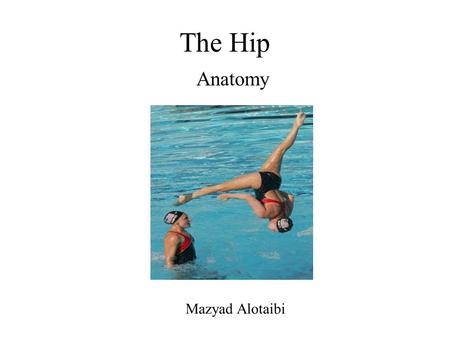 The Hip Anatomy Mazyad Alotaibi. Joint complex Hip – ball and socket Closely associated the SIJ and lsp Movements – flex, ext, MR, LR, add and abd Joint.