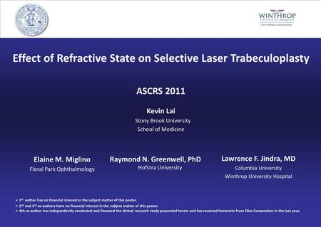 Effect of Refractive State on Selective Laser Trabeculoplasty ASCRS 2011 Kevin Lai Stony Brook University School of Medicine Elaine M. Miglino Floral Park.