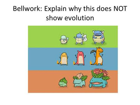 Bellwork: Explain why this does NOT show evolution.